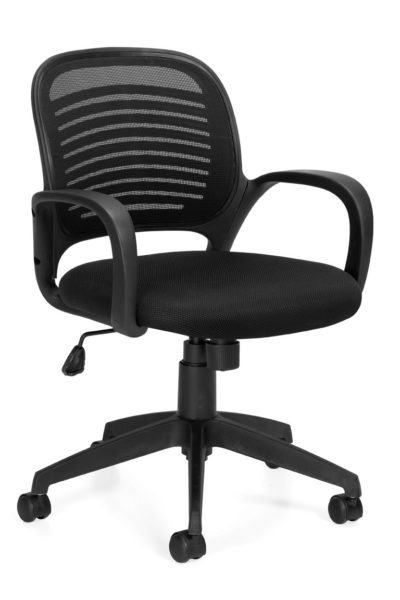 Low back black swivel-tilt conference chair with mesh/contoured plastic back, fabric seat, plastic loop arms and nylon 5-star base.