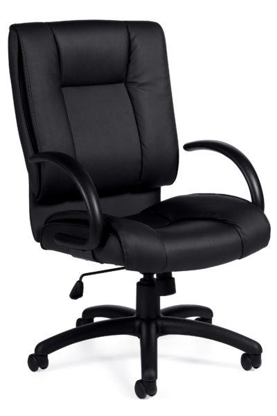Mid back swivel-tilt conference chair in black Luxhide with nylon 5-star base, tilt lock, half-loop urethane-skinned arms, and tilt tension knob.