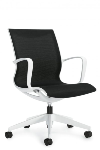 Designer swivel-tilt medium back conference chair with soft white frame and soft white 5-star base, continuous contoured loop arms, and black fabric seat and back.