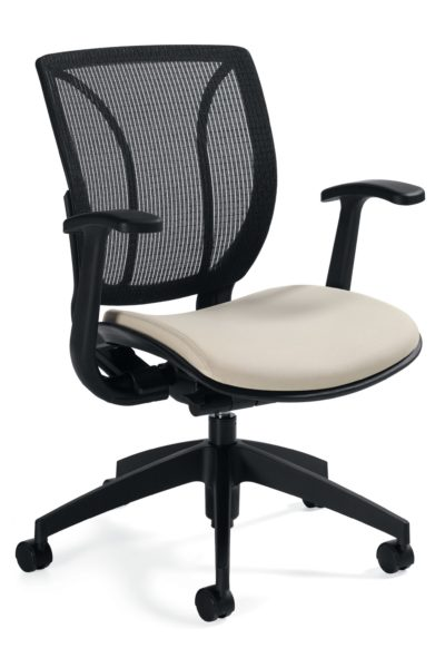 Mid-back conference chair with swivel tilt mechanism, mesh back, cream colored fabric waterfall seat, 5-star nylon base, and fixed height urethane-skinned arms.