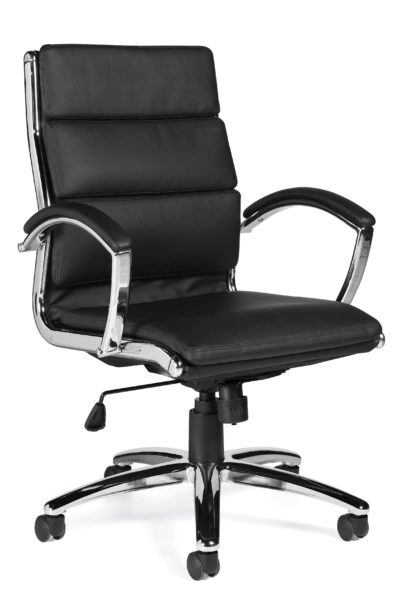 High back conference chair with swivel-tilt mechanism, stitched and 3-sectioned back detail, waterfall seat, chrome looped arms with Luxhide padded arm caps, and polished aluminum 5-star base.