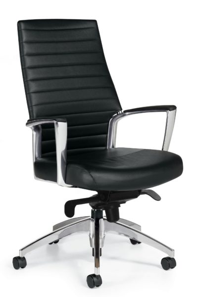High back conference chair with knee tilt mechanism, tapered and horizontally stitched back details, tilt tension knob, 5-star polished aluminum base, and angular polished aluminum arms with urethane-skinned arm caps.