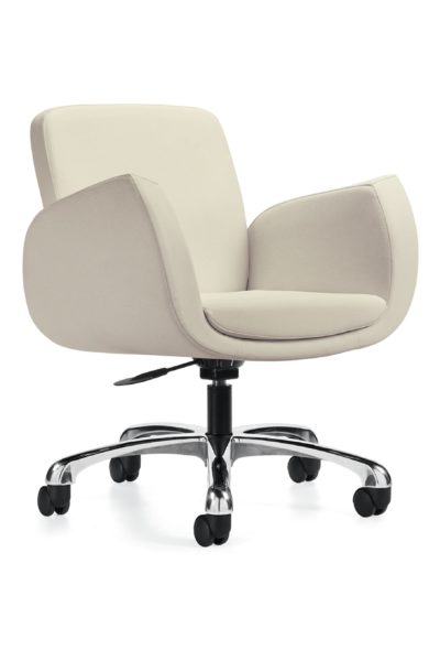 Low back designer swivel-tilt conference chair with tilt lock, cream colored fabric, angular padded box arms, and polished 5-star base.