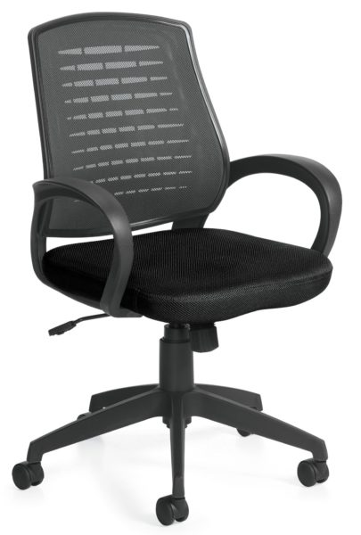 Medium back black swivel-tilt conference chair with mesh/contoured plastic back, fabric seat, plastic loop arms and nylon 5-star base.