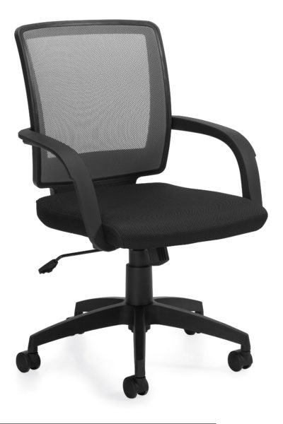 Medium back swivel-tilt conference chair with gray mesh, plastic loop arms, fabric seat, tilt lock, and tilt tension.