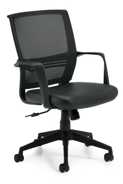 Swivel-tilt conference chair with medium-sized mesh back, twisted loop arms, black Luxhide seat, tilt lock and black 5-star base.