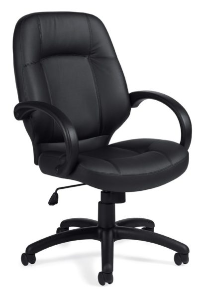 Medium back conference chair with black Luxhide seat and back, waterfall seat pan, tilt lock, loop arms, and vertical/horizontal stitching detail.