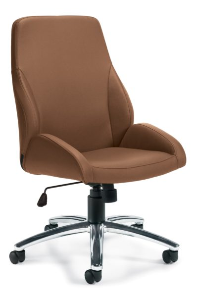 Armless midback swivel-tilt conference chair in medium tan Luxhide with tilt tension adjustment, wrap-around seat pan, tilt lock, and polished aluminum 5-star base.