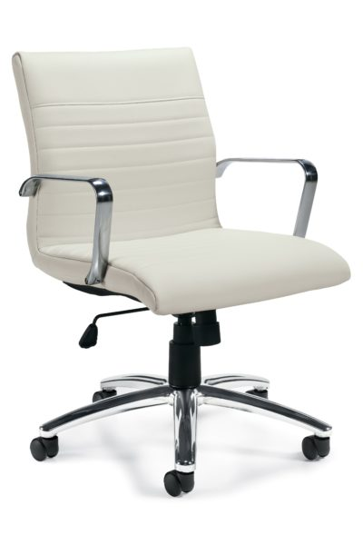 White Luxhide midback designer conference chair, swivel-tilt with chrome loop arms, polished aluminum 5-star base, adjustable tilt tension, and horizontal stitching detail.