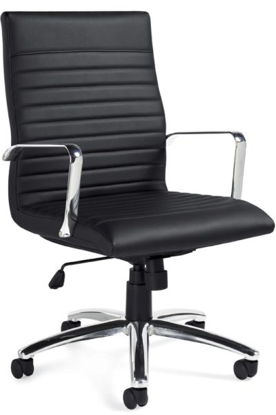 High back swivel-tilt conference chair in black Luxhide with chrome loop arms, horizontal stitching detail, polished aluminum 5-star base, and adjustable tilt tension knob.