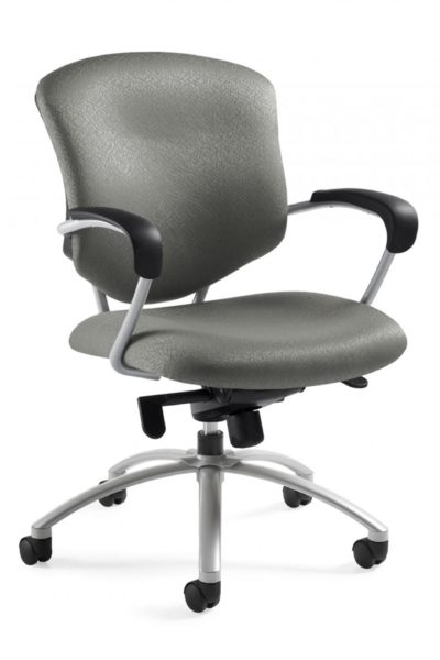 Swivel tilt conference chair with knee tilt mechanism, taupe fabric seat and back, tilt tension control, tungsten 5-star base, tungsten loop arms with black soft-skinned urethane arm caps.