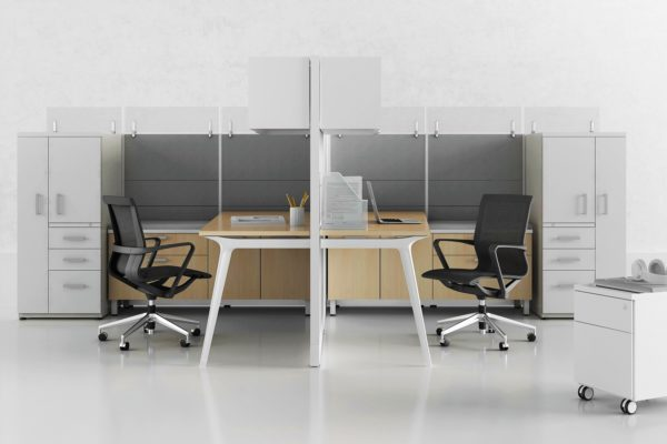 Double workstation with segemented panels, tempered glass stackers, and personal storage.