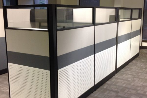 Dramatic panel includes multiple light colored fabric.