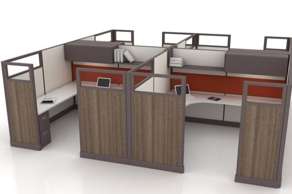 4-pack cubicles with hard surface wood-simulation panel on exterior, fabric on interior. Overhead flipper bins included.
