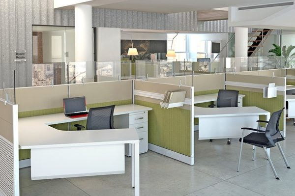 3-pack workstation with lower height panels and stacker glass.
