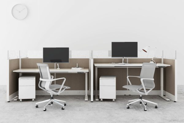 4-pack compact workstation. Includes electic sit-stand unit and mobile box file storage.
