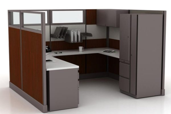 Single hard surface wood cubicle. Glass accents, overhead flipper bin, paper management and personal storage tower.