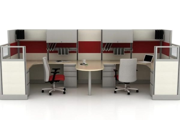 Double cubicle with shared peninsula workstation.