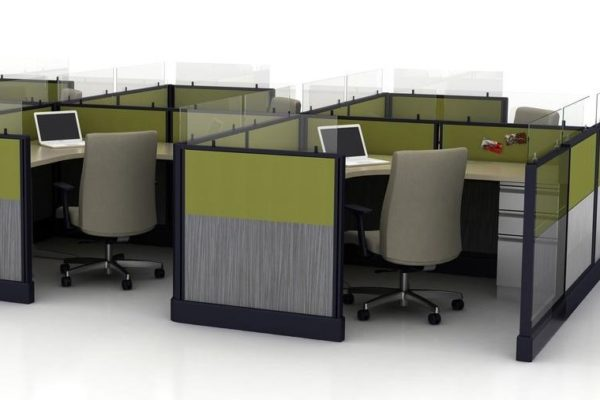 6-pack cubicles with work areas that measure 6'x6'.