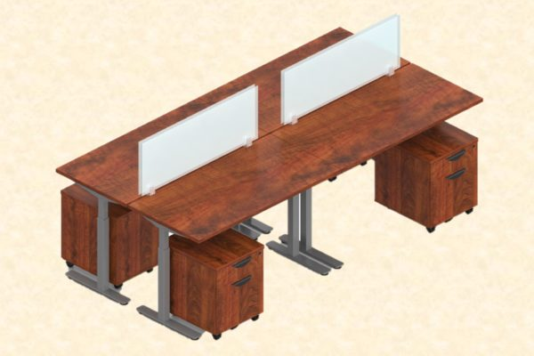 Grouping of four 24x48 sit-stand desks with medium cherry laminate, gray legs, medium cherry laminate box files, and frosted acrylic privacy screens.