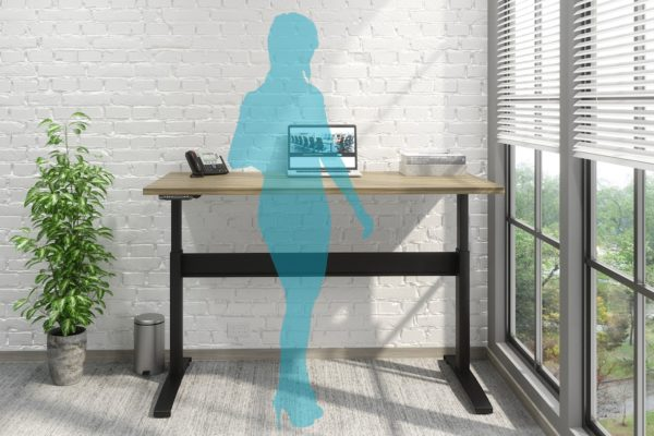 24x48 natural maple laminate sit-stand desk with black base and laptop docking station.