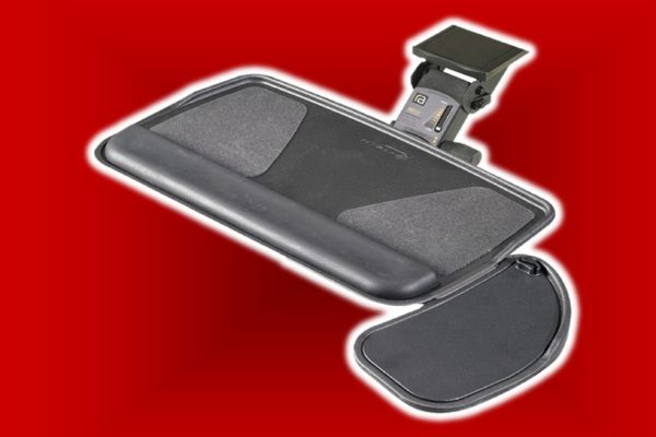 Steel articulating keyboard tray with adjustable mouse pad and premium fast action mechanism providing complete swivel motion, 6 inches of height range, and positive/negative tray tilt.