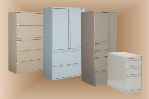 Lateral and pedestal filing grouping in multiple colors and several door and drawer combinations. Colors include light grey, sand, and desert tan. 5-drawer lateral file option as well as personal storage tower with combo filing and wardrobe compartments.