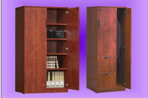 """Laminated personal storage tower/wardrobe and 36"""" wide 2-door storage cabinet, both in medium cherry laminate and 66"""" high."""