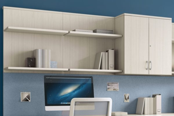 Open shelving with hidden cantilever supports and upper 2-door storage hutch in white glazed wood laminate.