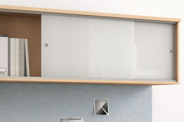 """72"""" overhead hutch with frosted acrylic sliding door option."""