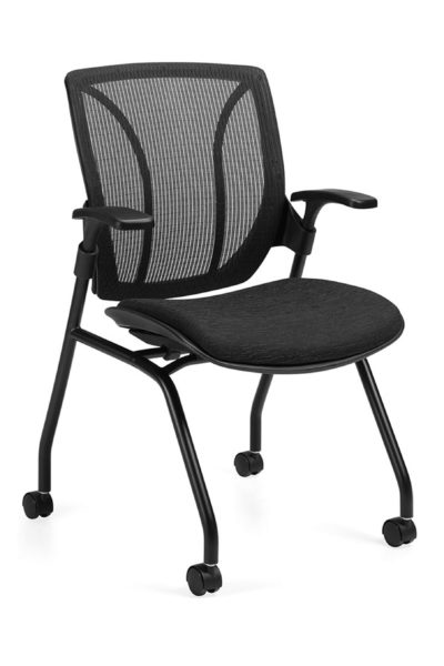 Mesh back guest/training chair in all-black finish including tubular frame, casters, fabric seat, urethane arms, and flip-up seat for horizontal nesting.