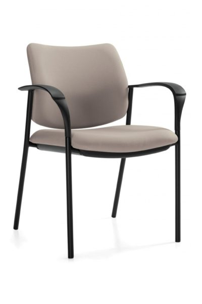 Multi-purpose stacking guest armchair with beige fabric seat and back, black tubular steel legs, and contoured/flattened loop arms.
