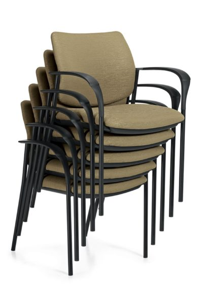 Stack of 5 guest armchairs with moss green seats and backs, black tubular frames, and contoured/flattened loop arms.