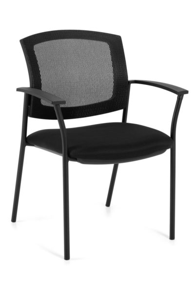 Black mesh back guest chair with black round tubular steel base, fabric seat, and curved urethane-skinned arm caps