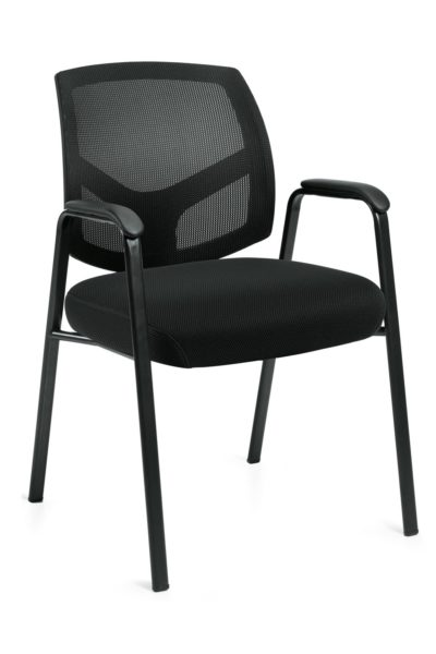 Midback mesh guest chair with black oval tubular steelbase, fabric seat and stylish back detail for maximum lumbar support.
