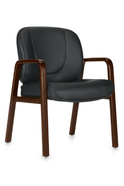 Black guest chair with wood arm and leg accents and Luxhide simulated leather seat and back.