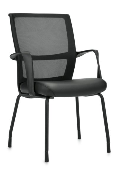 Flared back guest chair with twisted loop arms, black powder-coated tubular steel legs, mesh back, and black Luxhide seat.