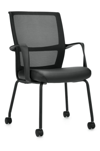 Guest char with casters, flared back, twisted loop arms, black legs, mesh back and black Luxhide seat.