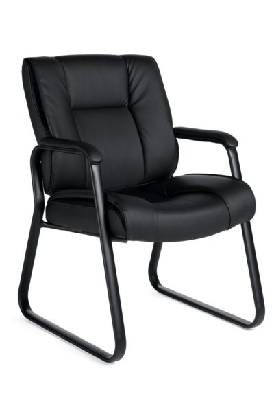 Sled base chair with black Luxhide seat and back, heavy duty elliptical tubular steel frame, waterfall seat edge, and urethane arm caps for comfort and durability.
