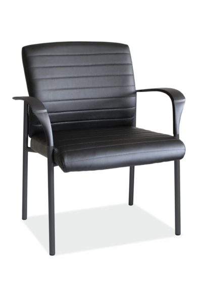 Guest armchair with black PVC loop arms, black vinyl seat and back, water seat cushion, and stylish horizontal stitching detail.