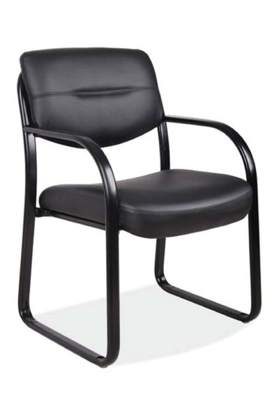 Sled base guest armchair with looped steel powder-coated arms, durable sled base, black Leathertek seat and back, and floating back for easy cleaning.