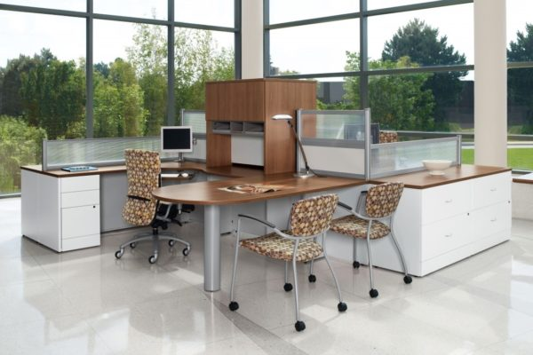 Double desking setup with peninsula tops, hutches, and white and natural cherry laminate finishes.