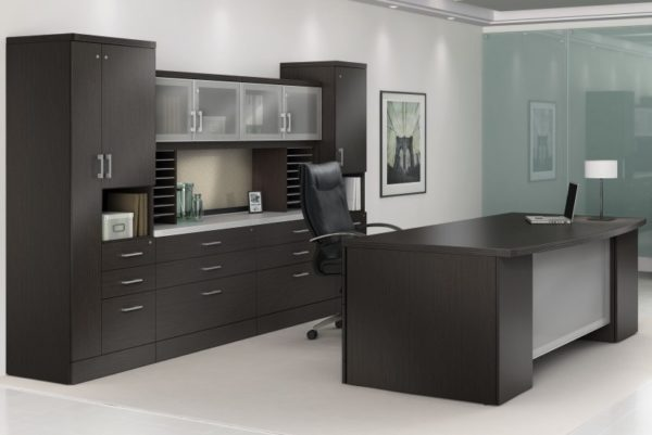 Executive desk group in espresso with bowtop desk and credenza, storage tower and paper management.