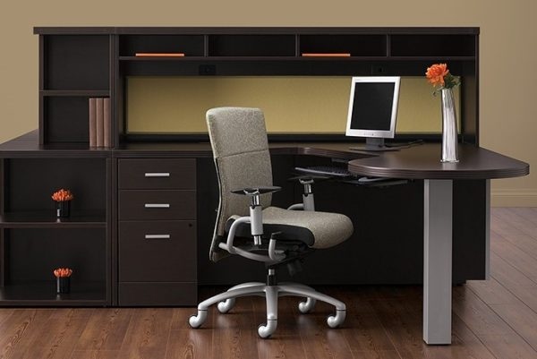 L-group desk in espresso with peninsula top and low hutch.