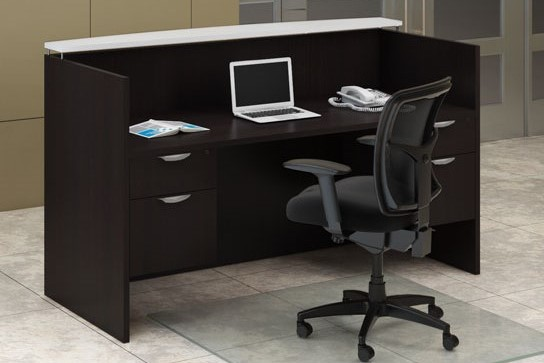 30 x 72 espresso laminate reception desk with two hanging box files and frosted glass bowtop transaction counter.