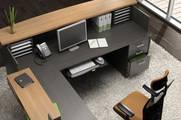 """Reception L-desk in Absolute Acajou laminate with box box file, keyboard drawer, paper management, and 36"""" high handicap accessible side transaction counter."""