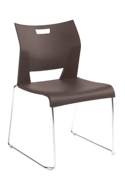 Flared, contemporary polypropylene 300 lb. rated armless high density stack chair in dark brown with solid rod chrome-plated base, optional glides for carpet or hard surfaces. Stacks up to 40 high on a dolly.