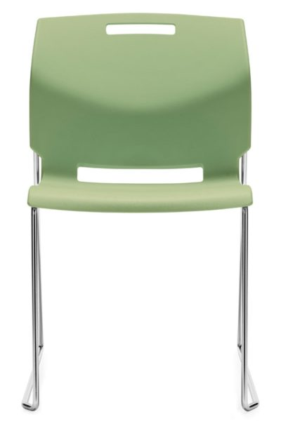 Armless seafoam green plastic high density stack chair with solid bar chrome sled base. Stacks up to 34 high on a dolly.