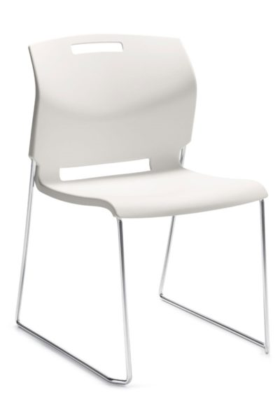 White armless high density stack chair (34 high on a dolly) with solid chrome sled base and built-in convenient carrying handle in the seat back.