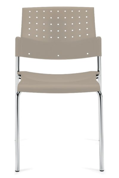 Armless stack chair in ivory polypropylene, solid steel rod sled base, contemporary perforated and angled back. Stacks 10 high on a chair dolly.